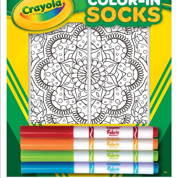 genuine shoes new concept fine craftsmanship NIB Crayola Living Royal COLOR-IN SOCKS MANDALA NWT